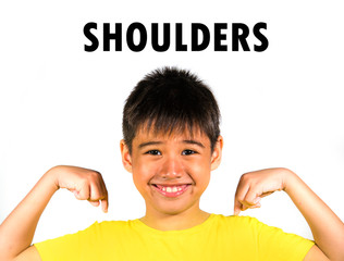 English language learning card child pointing with fingers to his shoulders isolated on white background as part of school cards set of body and face parts in education