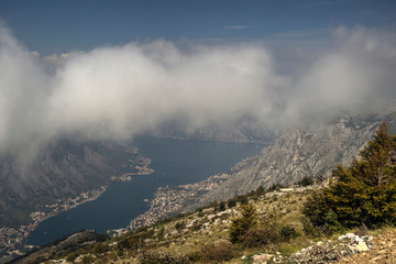 Montenegro - Bay of Kotor viewed from the Mountain Lovcen