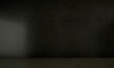 The empty black living room and concrete wall texture background