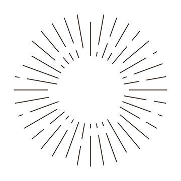 Sun rays linear drawing. Isolated  burst design elements. Vector vintage bursting rays illustration.Retro style vector. T-shirt print.