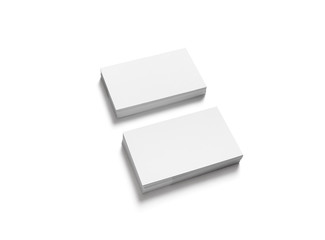 Blank business cards mockup isolated on white background. Clipping path.