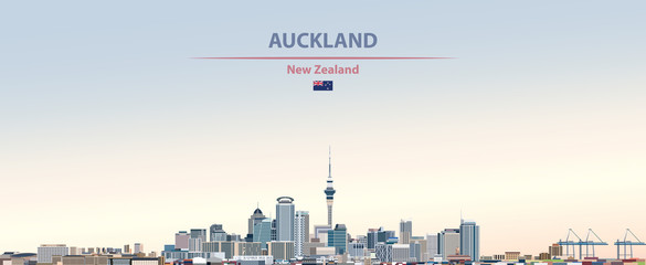 Wall Mural - Vector illustration of Auckland city skyline on colorful gradient beautiful day sky background with flag of  New Zealand