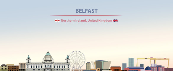 Fototapete - Vector illustration of Belfast city skyline on colorful gradient beautiful day sky background with flags of Northern Ireland and United Kingdom