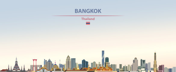 Fototapete - Vector illustration of Bangkok city skyline on colorful gradient beautiful day sky background with flag of  Thailand