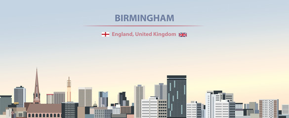 Fototapete - Vector illustration of Birmingham city skyline on colorful gradient beautiful day sky background with flags of  England and United Kingdom