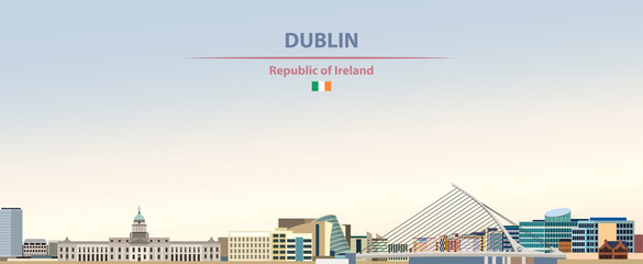 Wall Mural - Vector illustration of Dublin city skyline on colorful gradient beautiful day sky background with flag of  Republic of Ireland