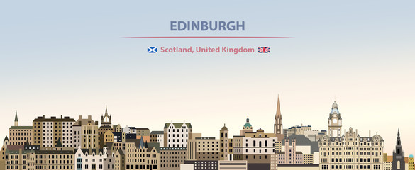 Wall Mural - Vector illustration of Edinburgh city skyline on colorful gradient beautiful day sky background with flags of  Scotland and United Kingdom