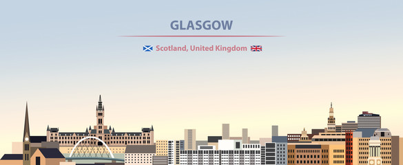 Wall Mural - Vector illustration of Glasgow city skyline on colorful gradient beautiful day sky background with flags of  scotland and United Kingdom
