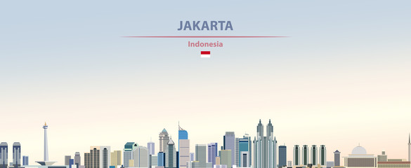Fototapete - Vector illustration of Jakarta city skyline on colorful gradient beautiful day sky background with flag of  Indonesia