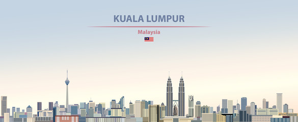 Fototapete - Vector illustration of Kuala Lumpur city skyline on colorful gradient beautiful day sky background with flag of  Malaysia