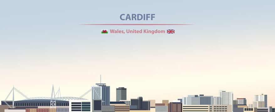 Vector illustration of Cardiff city skyline on colorful gradient beautiful day sky background with flags of  Wales and United kingdom