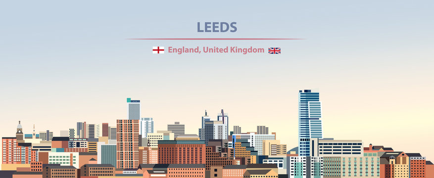 Vector illustration of Leeds city skyline on colorful gradient beautiful day sky background with flags of  England and United Kingdom