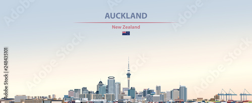 Fototapete Vector illustration of Auckland city skyline on colorful gradient beautiful day sky background with flag of  New Zealand