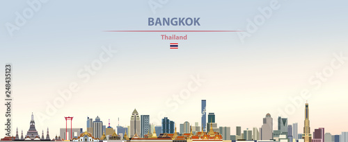 Fototapete Vector illustration of Bangkok city skyline on colorful gradient beautiful day sky background with flag of  Thailand