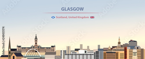 Fototapete Vector illustration of Glasgow city skyline on colorful gradient beautiful day sky background with flags of  scotland and United Kingdom