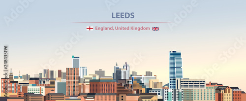 Fototapete Vector illustration of Leeds city skyline on colorful gradient beautiful day sky background with flags of  England and United Kingdom