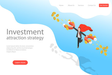 Isometric flat vector landing page template of investment attraction strategy, profit, income, financial freedom. Wall mural