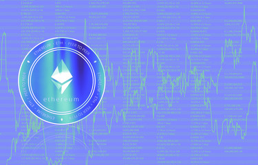 Ethereum (ETH) digital crypto currency. Сoin on the background of stock indexes. Cyber money.