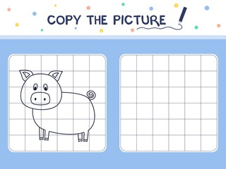 Pig. Copy the picture. Coloring book. Educational game for children. Cartoon vector illustration.