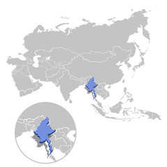 Vector illustration of Myanmar in blue on the grey model of Asia map with zooming replica of country.