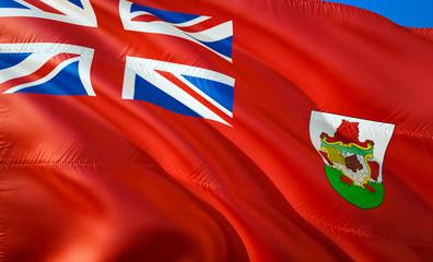 Flag of Bermuda. 3D Waving flag design. The national symbol of Bermuda, 3D rendering. National colors of Bermuda 3D Waving sign background design.Caribbean 3D ribbon, wallpaper, pattern background