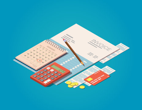 Vector isometric Invoices, calculator, calendar, pencil, coins and credit card. Billing payment time concept. Financial or business operations icon.