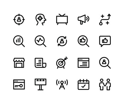 Simple Set of Marketing Related Vector Line Icons. Contains such Icons astarget, strategy, feedback, goal and More. pixel perfect vector icons based on 32px grid. Editable Strokes