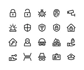 Simple Set of Security Related Vector Line Icons. Contains such Icons aslock, unlock, bug, finger print and More. pixel perfect vector icons based on 32px grid. Editable Strokes