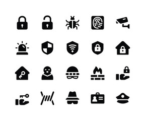 Simple Set of Security Related Vector Glyph Icons. Contains such Icons as lock, unlock, bug, finger print and More. pixel perfect vector icons based on 32px grid. Well Organized and Layered