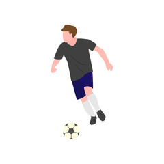 Close-up of a soccer player who runs lightly, following the ball on a white background