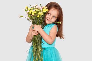 Cute small child embraces bouquet of flowers, dressed in blue dress, has dark hair, pleasant appearance, poses over white background. Pretty European female kid recieves flowers from parents