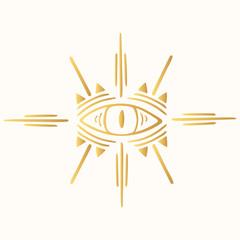 Hand drawn golden boho evil eye. Ethnic hamsa  in aztec style. Mystical indian gold print.