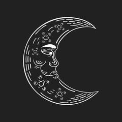 Hand drawn crescent moon in boho style. Vector bohemian ethnic tattoo. Magic scandinavian pattern.