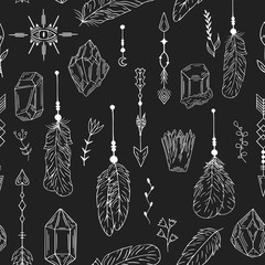 Hand drawn boho crystal, gem, feathers, floral seamless pattern in native indian style. Tribal background with evil eye. Vector isolated illustration.