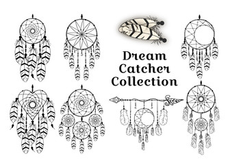 Hand drawn dream catcher collection in traditional boho style. Magic tribal indian tattoo. Aztec print. Bohemian feathers. Wall mural