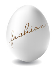 Easter egg, with the fashion inscription, on a white background. Fashionable Easter.