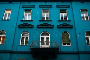 Facade of the turquouse house in Graz, Austria