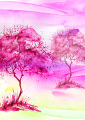 Watercolor vintage bush, a tree in pink, lilac, purple color. On the Sunset. Abstract spots, shore, sky, watercolor landscape. Countryside landscape with a pink tree on a hill.