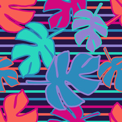 Seamless background with decorative Tropical palm leaves. Monstera. Vector illustration. Can be used for wallpaper, textile, invitation card, wrapping, web page background.