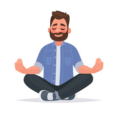 Obraz Meditating man over isolated background. Keep calm. Vector illustration - fototapety do salonu