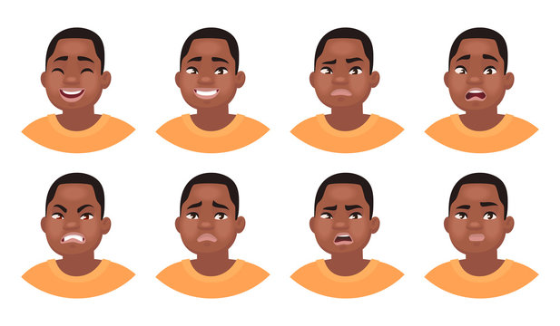 Set of different emotions male character. African American man emoji with various facial expressions