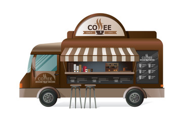 Street van, shop truck counter on wheels, sale of coffee.