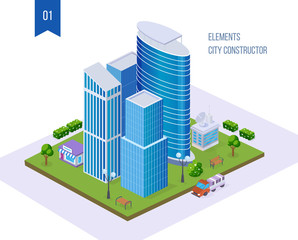 Realistic 3D isometric city, megalopolis, with tall buildings, skyscrapers, infrastructure.