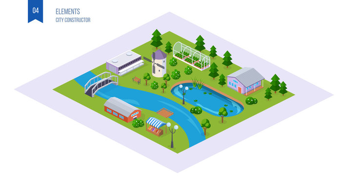 Realistic 3D isometric of country cottage area, with buildings.