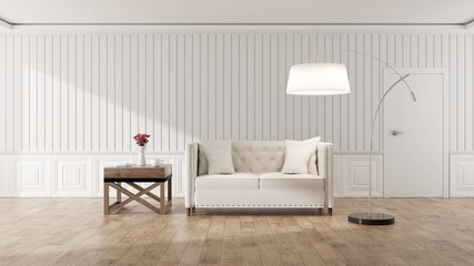 Empty living room with white wall and white sofa, Minimal Rustic, Interior design ,3d render