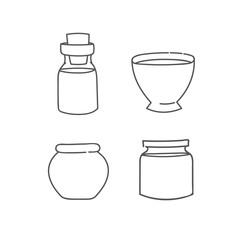 Glass bottle jar bowl and pot set of doodles