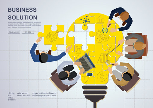 Business meeting and brainstorming. Idea and business concept for teamwork. Vector illustration infographic template with people, team, light bulb and icon.Print