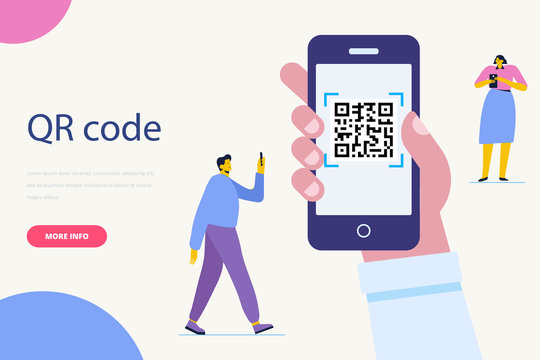 Hand with pnone. QR code concept illustration of man scanning barcode using mobile smartphone for online shopping and payment.  Flat vector illustration.