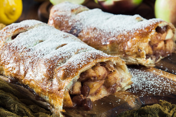 Garden Poster Vienna Traditional puff pastry strudel with apple