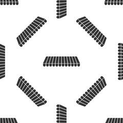 Striped awning icon isolated seamless pattern on white background. Outdoor sunshade sign. Awning canopy for shops, cafes and street restaurants. Flat design. Vector Illustration